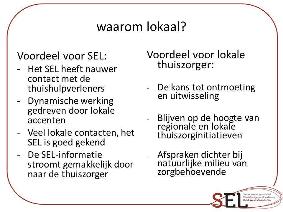 waarom lokaal Voordeel voor SEL: Voordeel voor lokale thuiszorger: