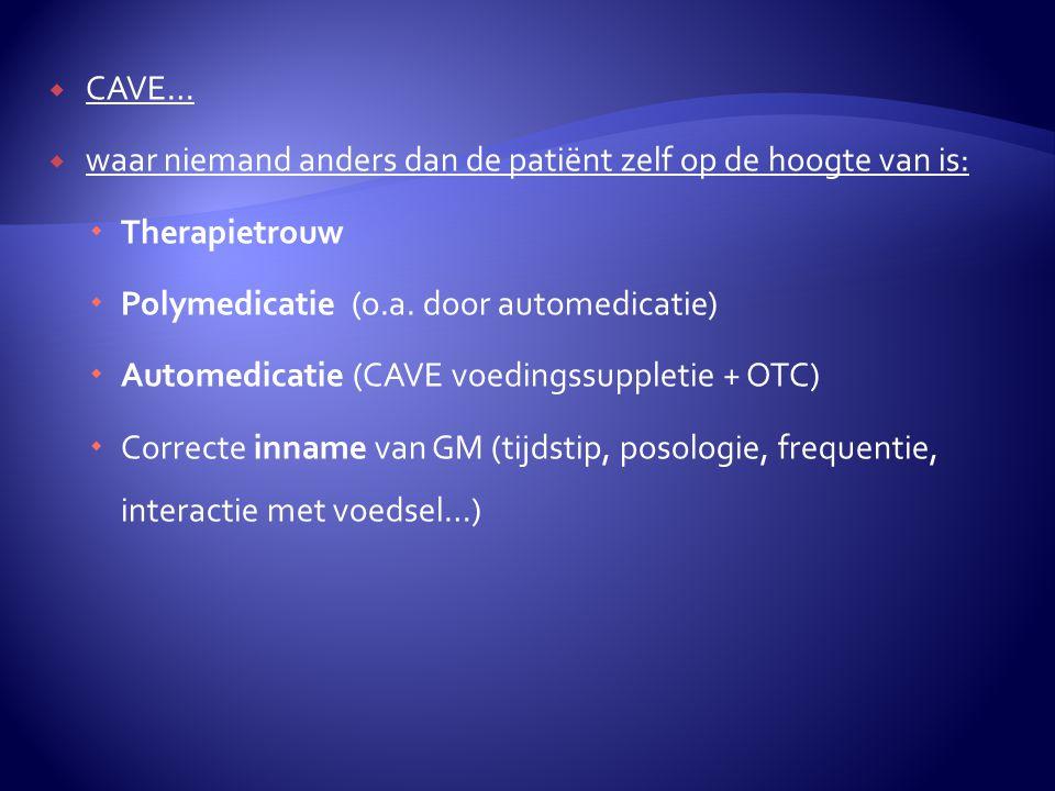 CAVE… waar niemand anders dan de patiënt zelf op de hoogte van is: Therapietrouw. Polymedicatie (o.a. door automedicatie)