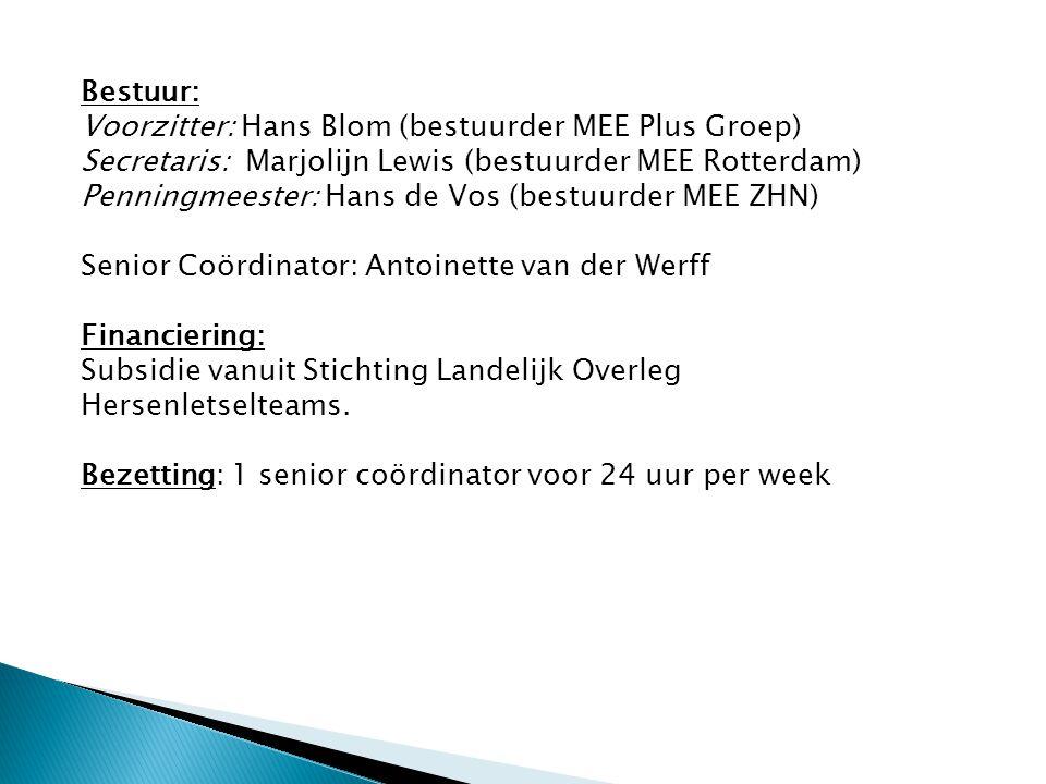 Bestuur: Voorzitter: Hans Blom (bestuurder MEE Plus Groep) Secretaris: Marjolijn Lewis (bestuurder MEE Rotterdam)