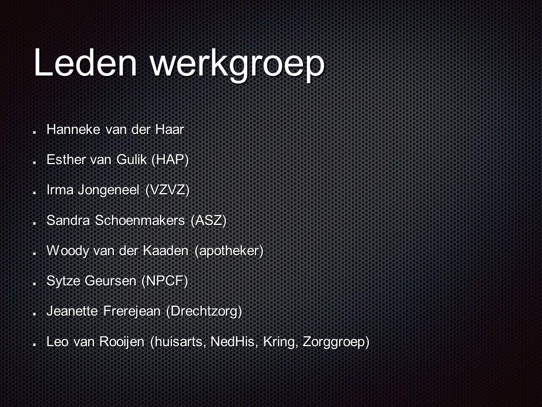 Leden werkgroep Hanneke van der Haar Esther van Gulik (HAP)