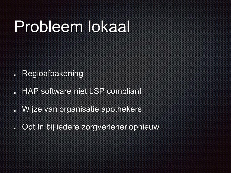 Probleem lokaal Regioafbakening HAP software niet LSP compliant