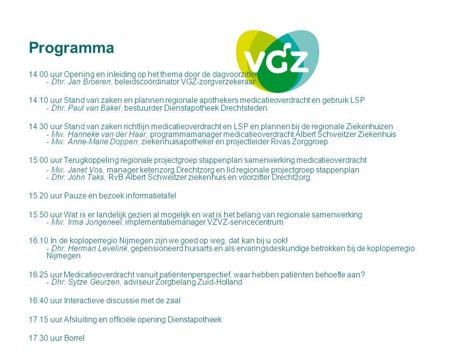Programma 14.00 uur Opening en inleiding op het thema door de dagvoorzitter - Dhr. Jan Broeren, beleidscoördinator VGZ-zorgverzekeraar.
