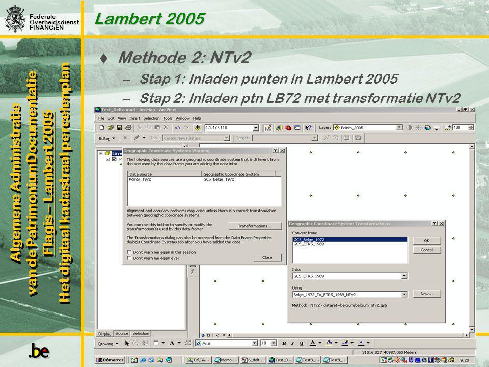 Lambert 2005 Methode 2: NTv2 Stap 1: Inladen punten in Lambert 2005