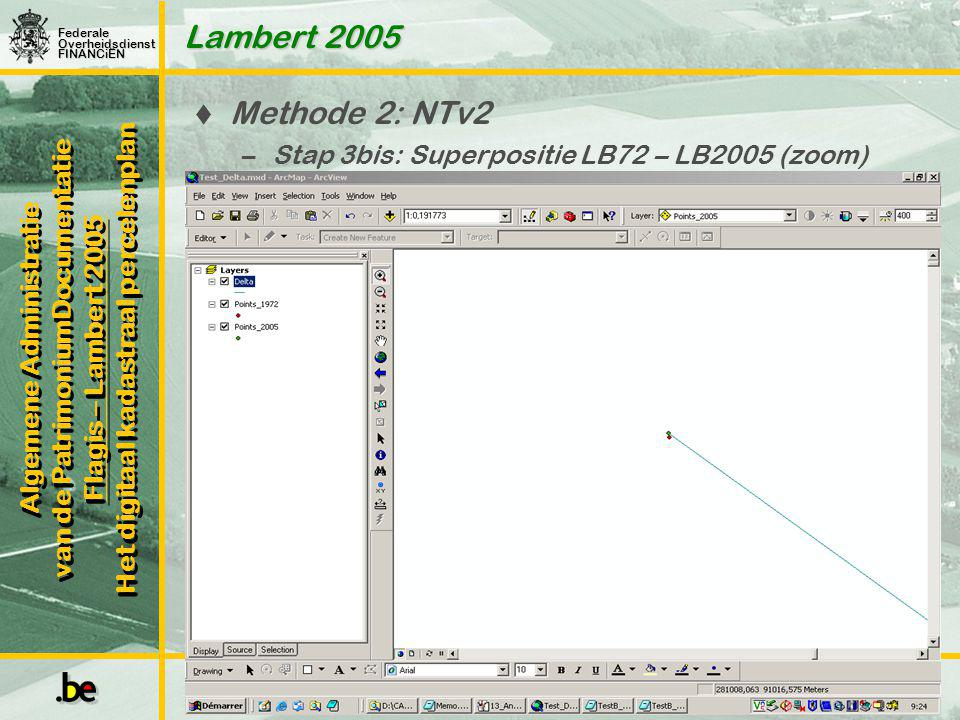 Lambert 2005 Methode 2: NTv2 Stap 3bis: Superpositie LB72 – LB2005 (zoom) Frederic Mortier
