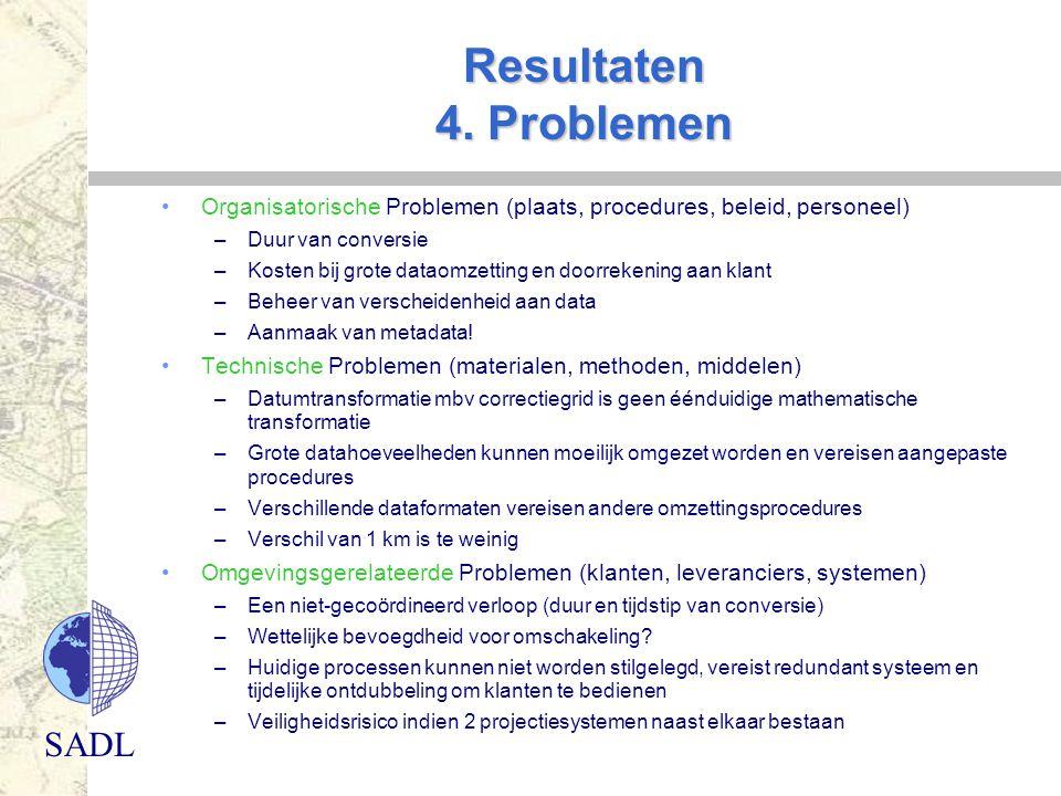Resultaten 4. Problemen Organisatorische Problemen (plaats, procedures, beleid, personeel) Duur van conversie.