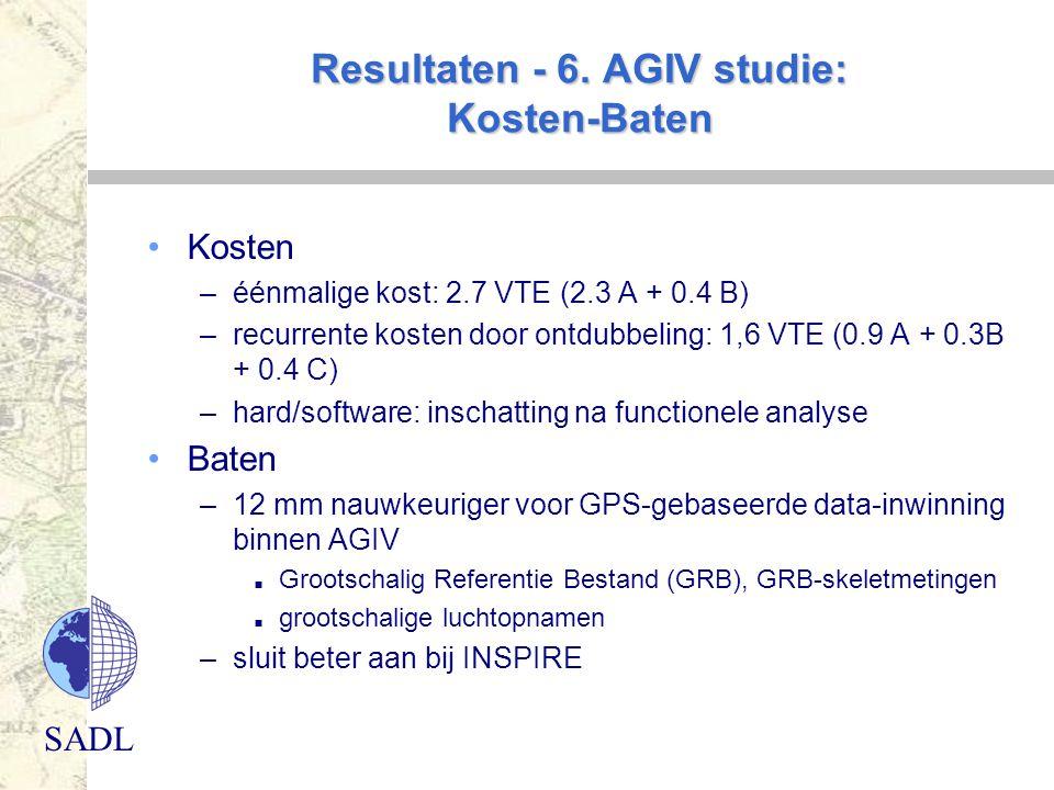 Resultaten - 6. AGIV studie: Kosten-Baten
