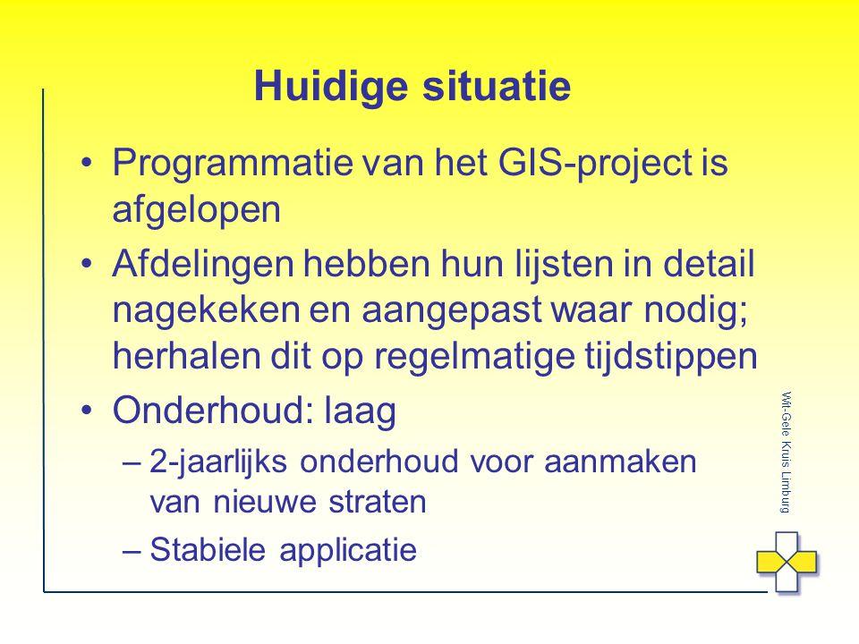 Huidige situatie Programmatie van het GIS-project is afgelopen