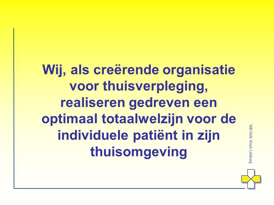 Wij, als creërende organisatie voor thuisverpleging, realiseren gedreven een optimaal totaalwelzijn voor de individuele patiënt in zijn thuisomgeving