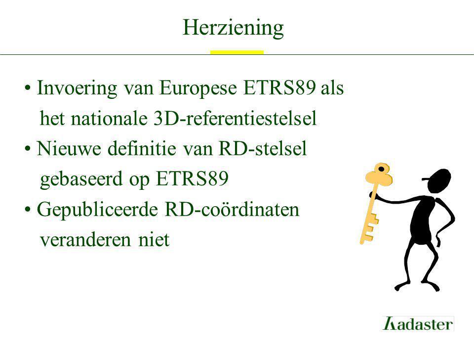 Herziening Invoering van Europese ETRS89 als het nationale 3D-referentiestelsel. Nieuwe definitie van RD-stelsel gebaseerd op ETRS89.