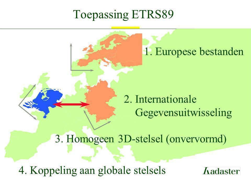 Toepassing ETRS89 1. Europese bestanden 2. Internationale