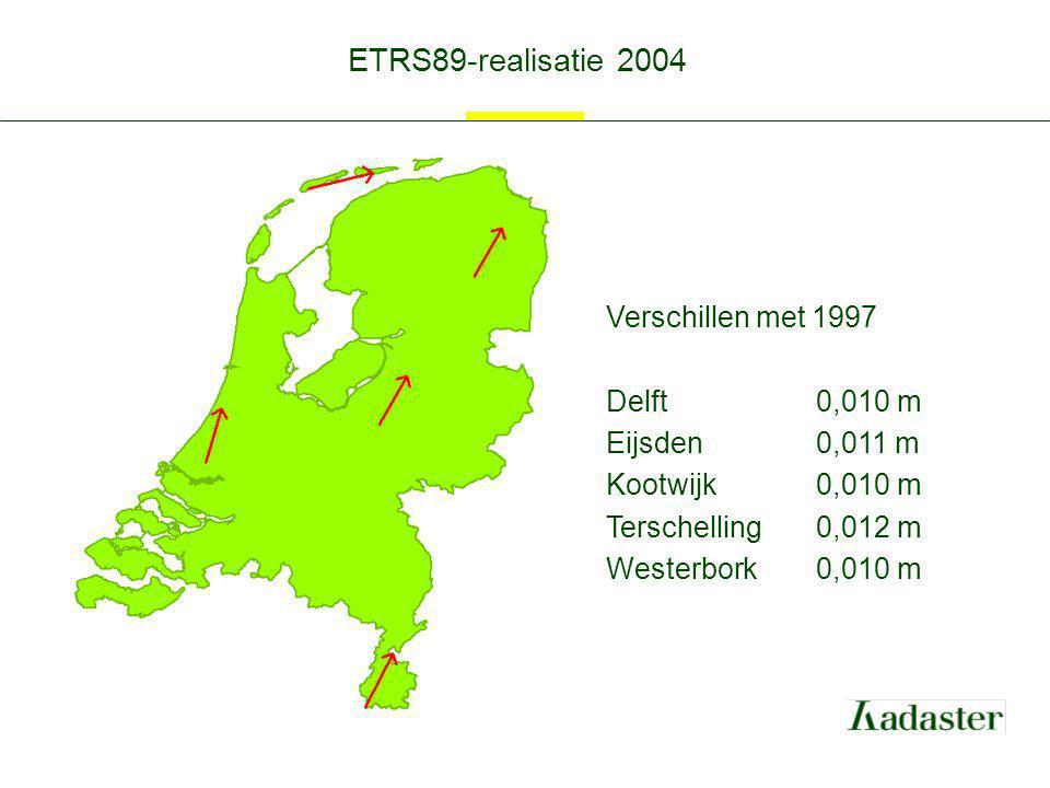 ETRS89-realisatie 2004 Verschillen met 1997 Delft 0,010 m