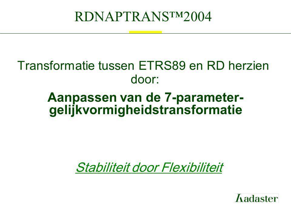 Transformatie tussen ETRS89 en RD herzien door: