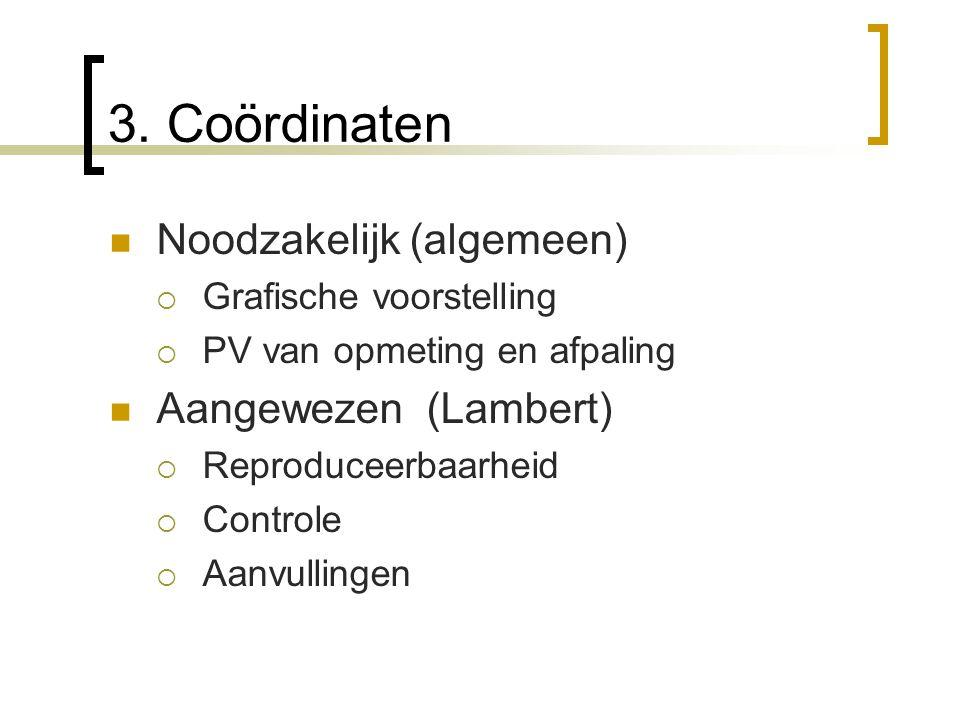 3. Coördinaten Noodzakelijk (algemeen) Aangewezen (Lambert)
