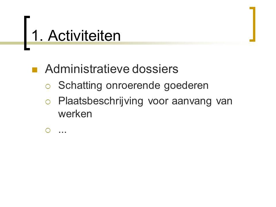 1. Activiteiten Administratieve dossiers Schatting onroerende goederen