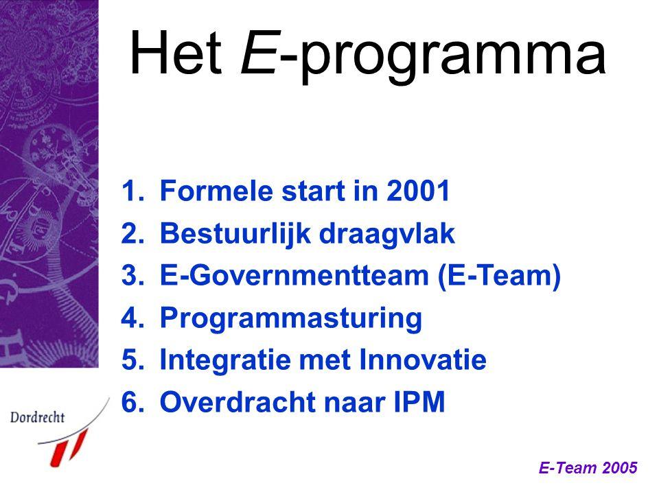Het E-programma Formele start in 2001 Bestuurlijk draagvlak