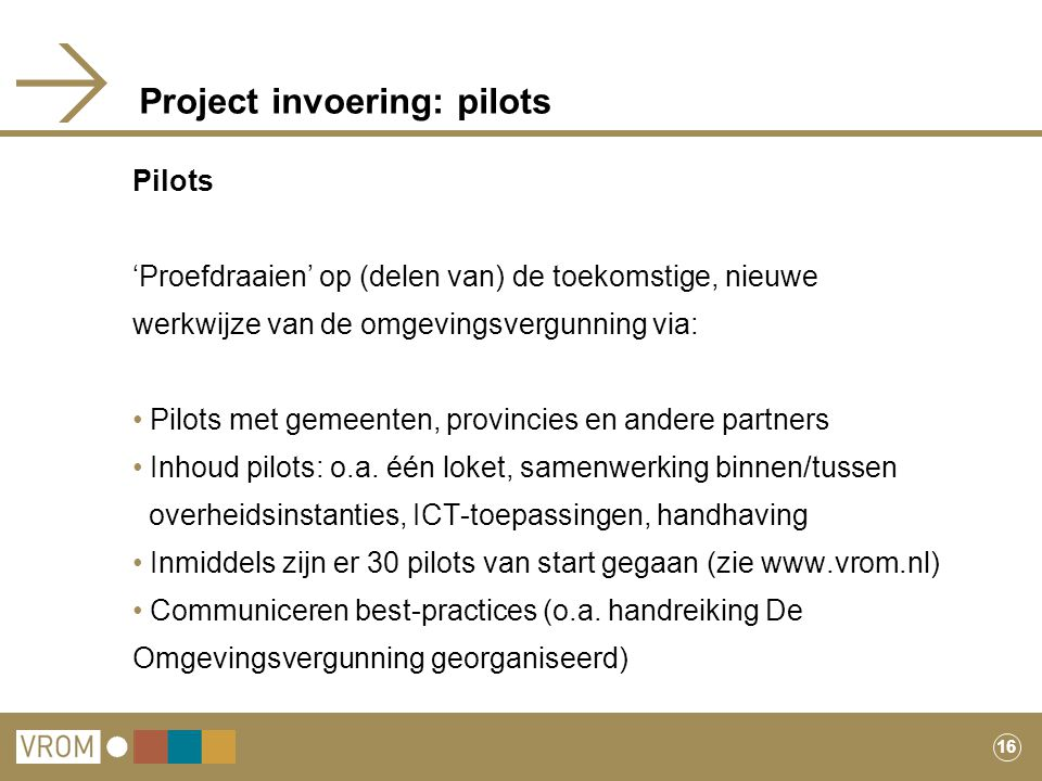 Project invoering: pilots