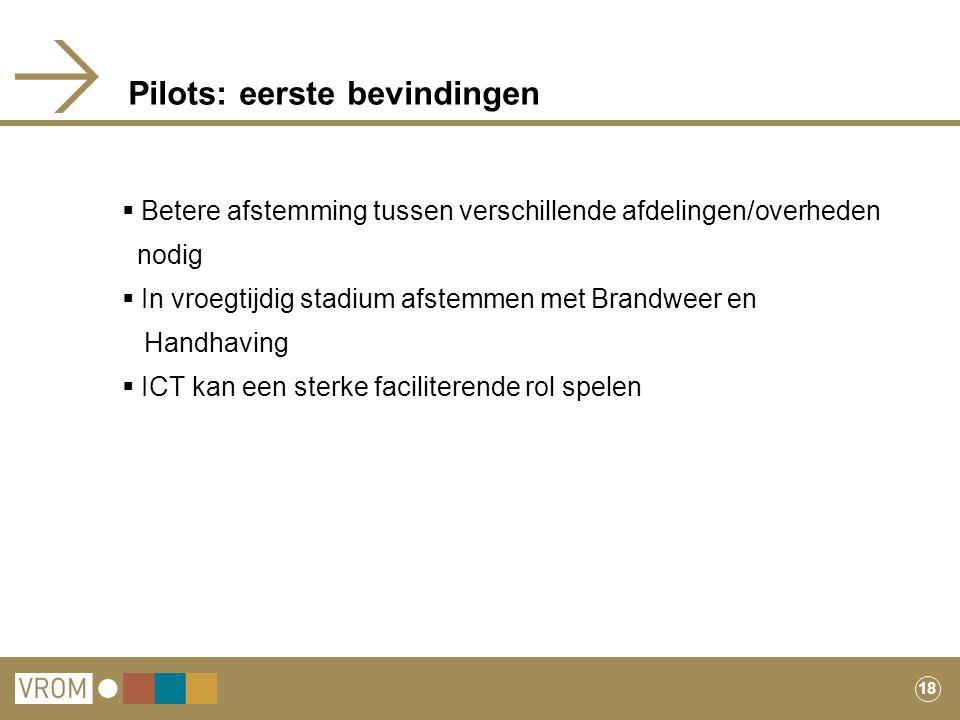 Pilots: eerste bevindingen