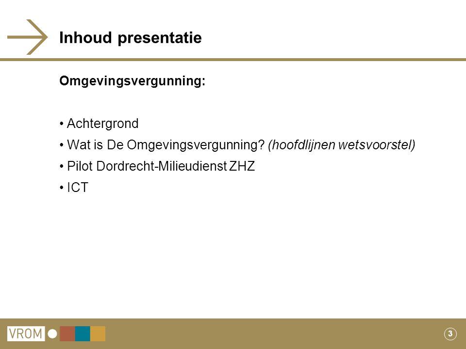 Inhoud presentatie Omgevingsvergunning: Achtergrond