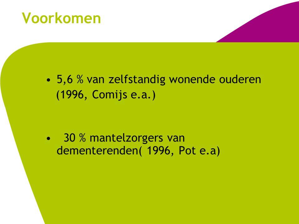 Voorkomen 5,6 % van zelfstandig wonende ouderen (1996, Comijs e.a.)