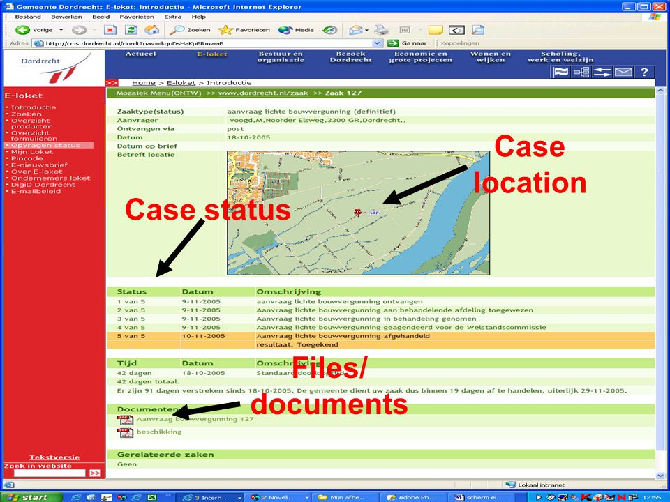 Case location Case status Files/ documents