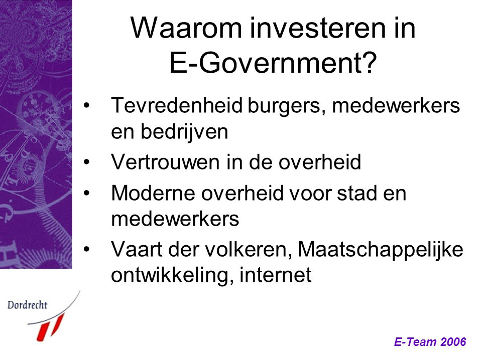 Waarom investeren in E-Government