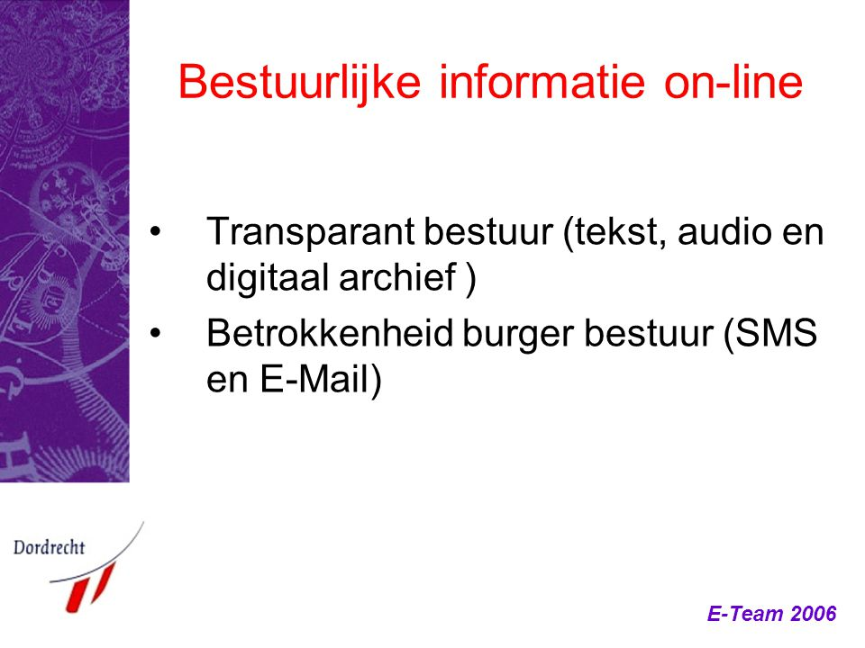 Bestuurlijke informatie on-line