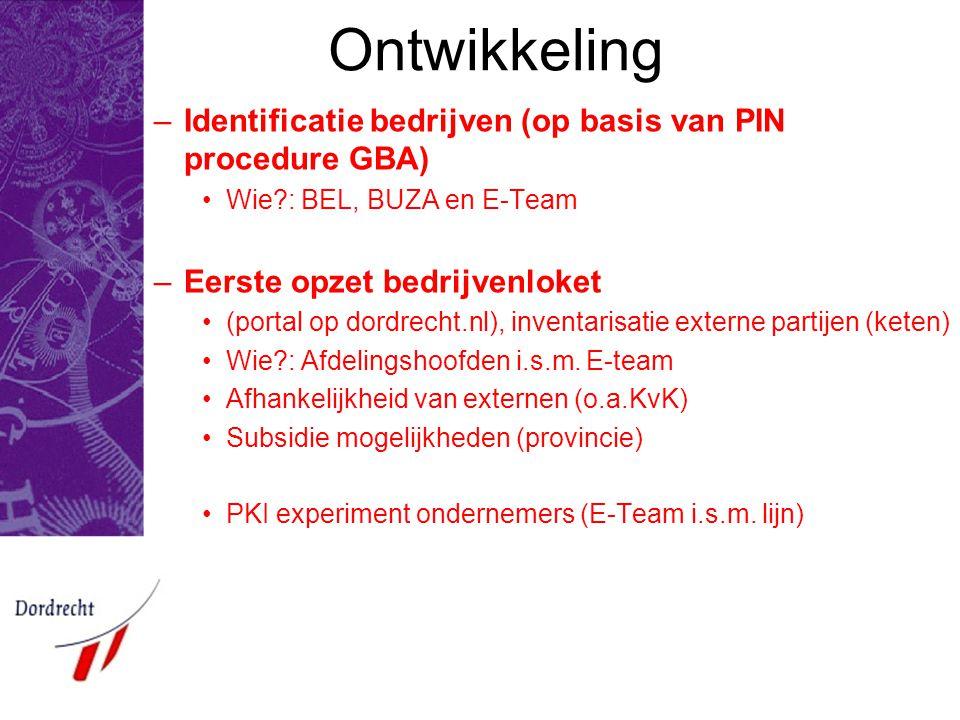 Ontwikkeling Identificatie bedrijven (op basis van PIN procedure GBA)