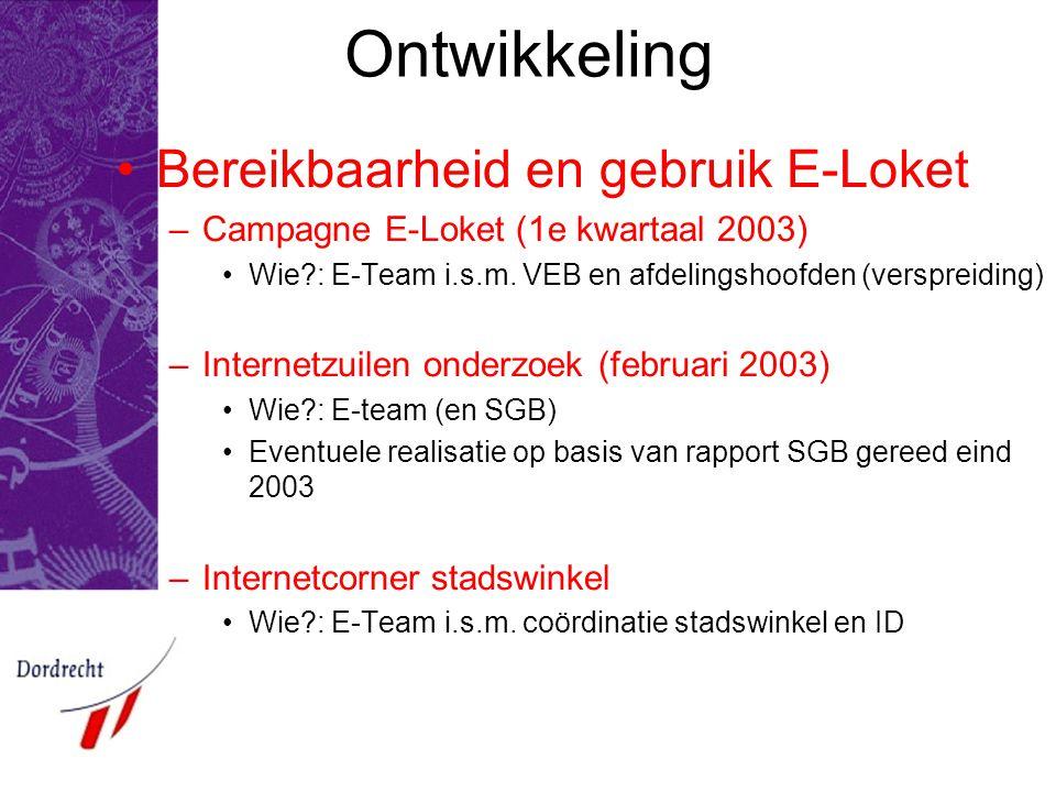 Ontwikkeling Bereikbaarheid en gebruik E-Loket