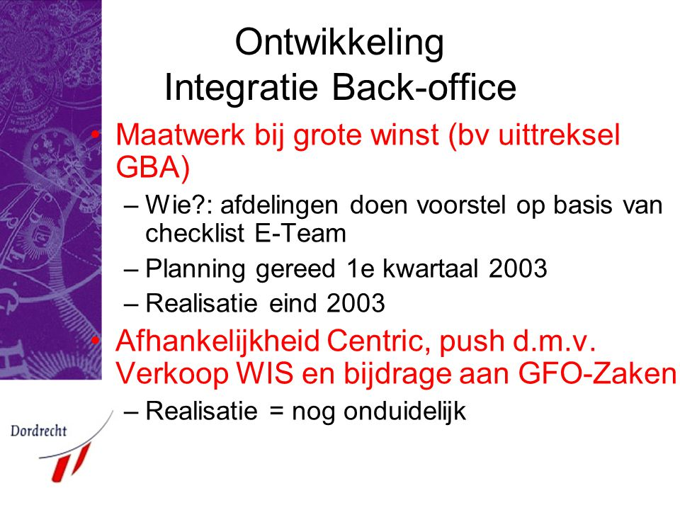 Ontwikkeling Integratie Back-office