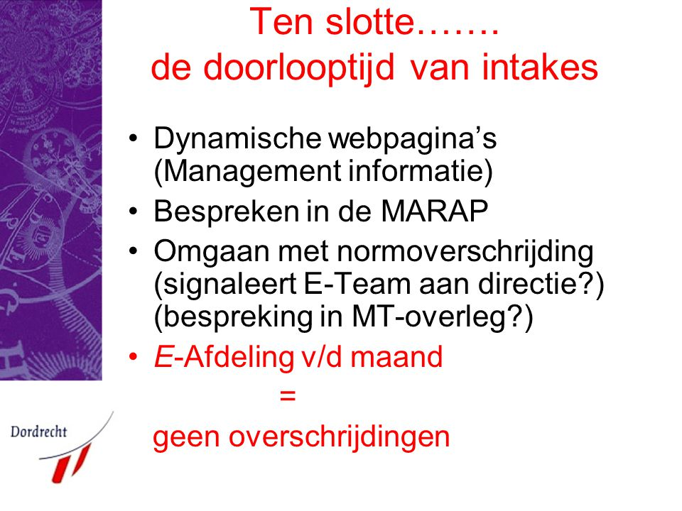 Ten slotte……. de doorlooptijd van intakes