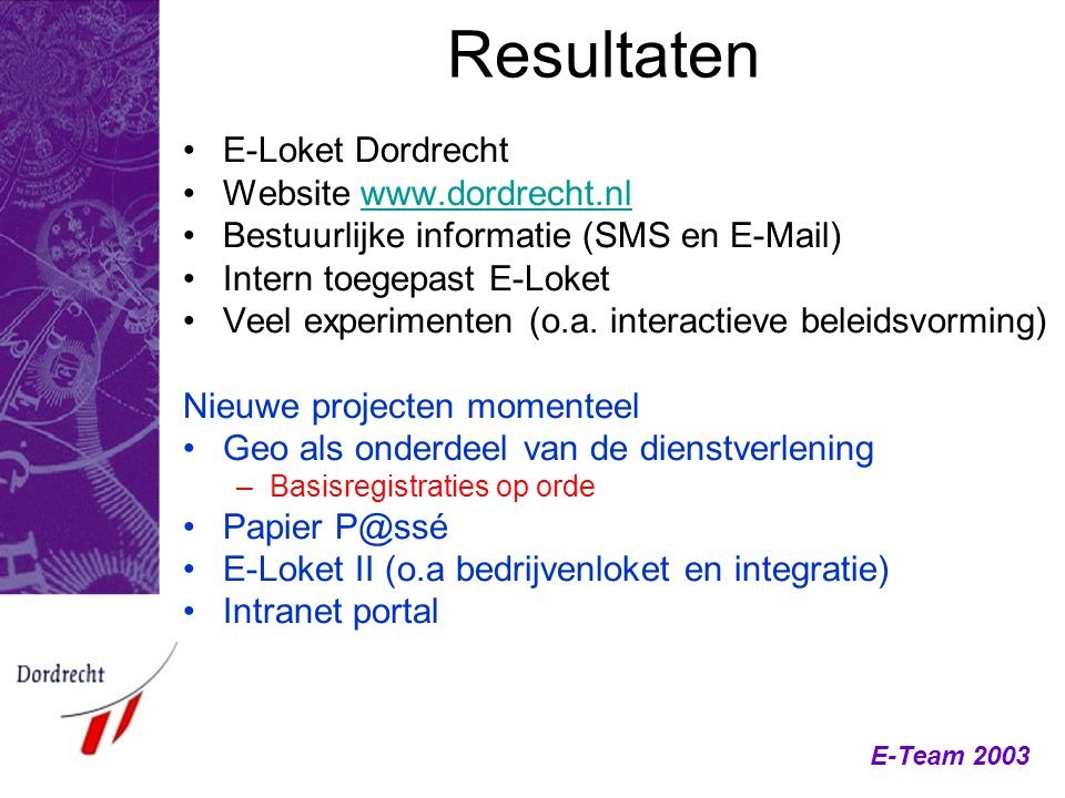 Resultaten E-Loket Dordrecht Website www.dordrecht.nl