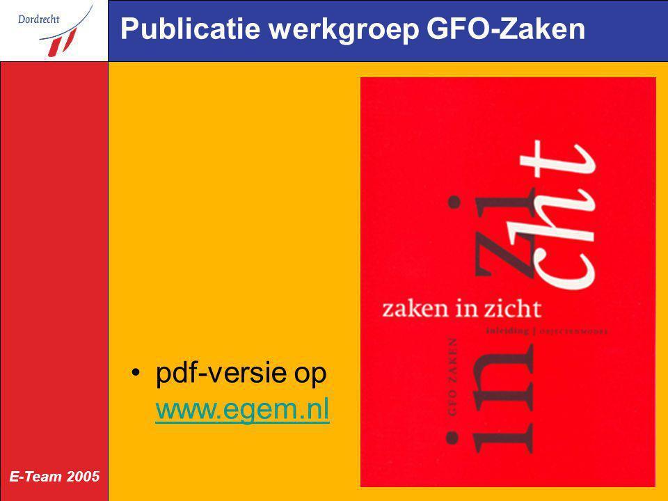 Publicatie werkgroep GFO-Zaken