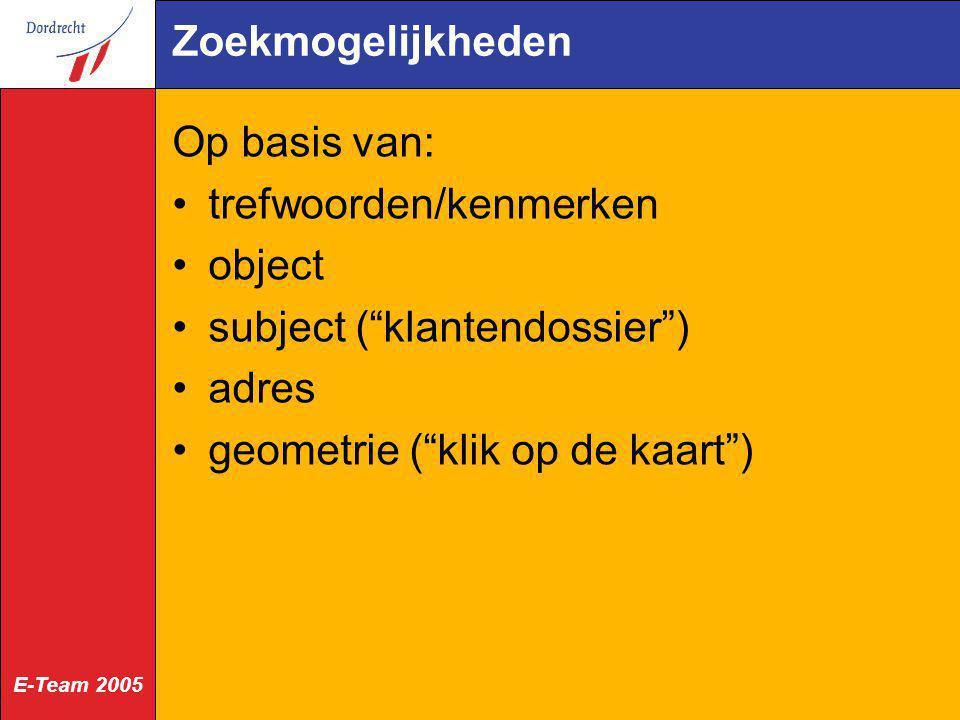 Zoekmogelijkheden Op basis van: trefwoorden/kenmerken. object. subject ( klantendossier ) adres.