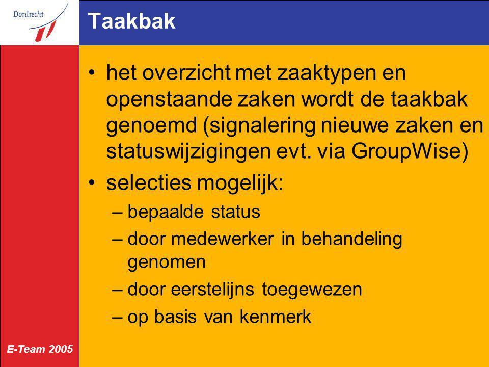 Taakbak het overzicht met zaaktypen en openstaande zaken wordt de taakbak genoemd (signalering nieuwe zaken en statuswijzigingen evt. via GroupWise)