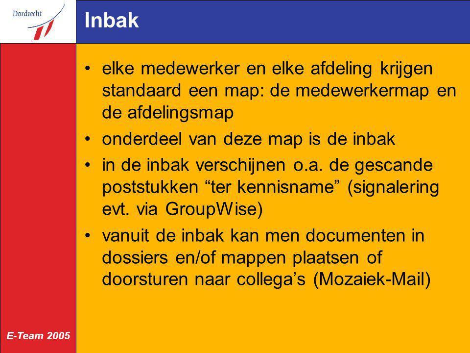 Inbak elke medewerker en elke afdeling krijgen standaard een map: de medewerkermap en de afdelingsmap.
