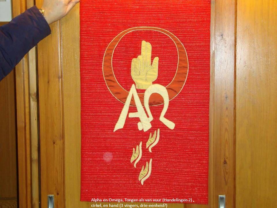 Alpha en Omega, Tongen als van vuur (Handelingen 2) , cirkel, en hand (3 vingers, drie-eenheid )