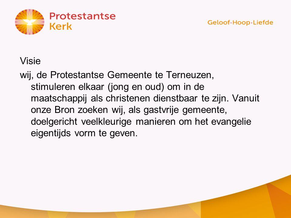 Visie wij, de Protestantse Gemeente te Terneuzen, stimuleren elkaar (jong en oud) om in de maatschappij als christenen dienstbaar te zijn.