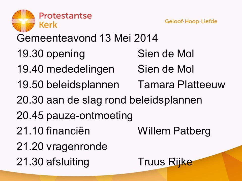 Gemeenteavond 13 Mei 2014 19. 30 opening Sien de Mol 19