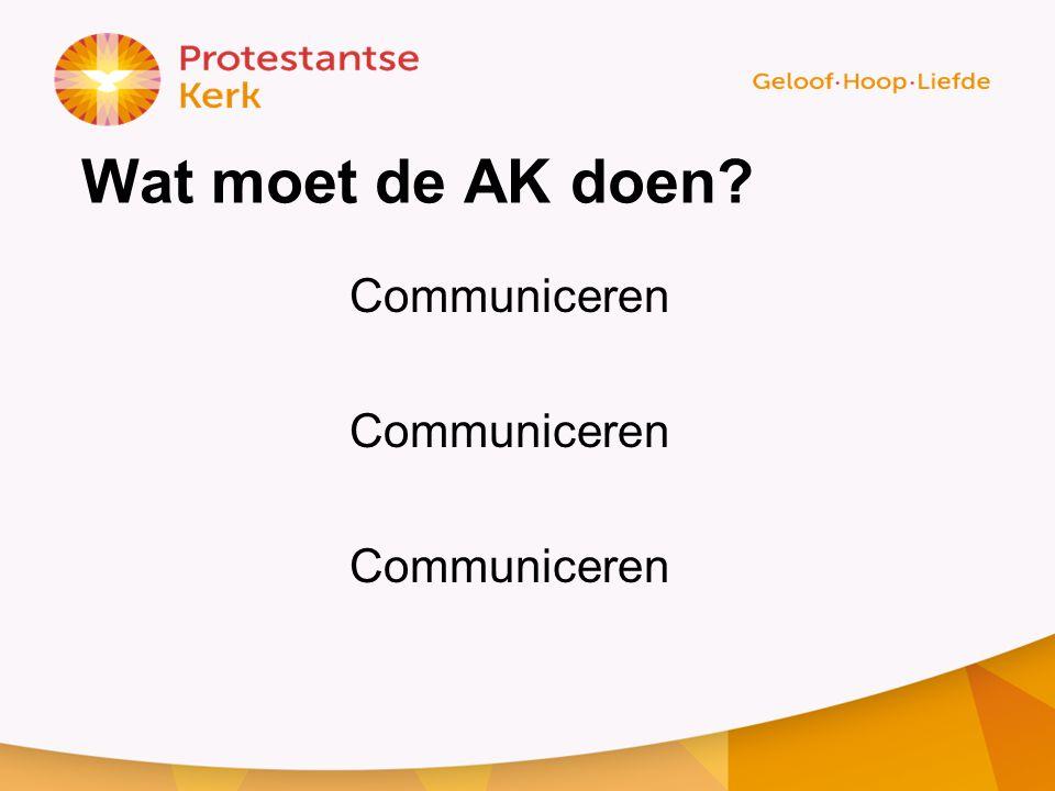 Wat moet de AK doen Communiceren
