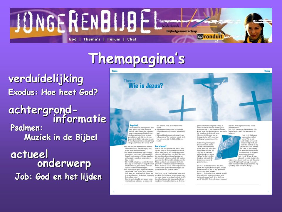 Themapagina's verduidelijking achtergrond- informatie actueel