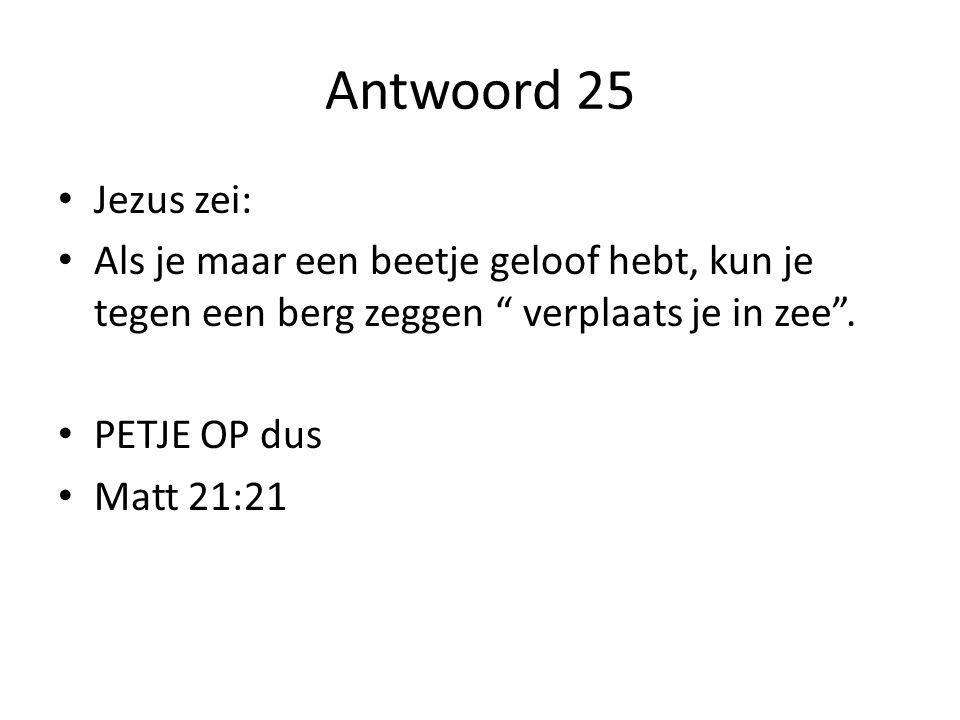 Antwoord 25 Jezus zei: Als je maar een beetje geloof hebt, kun je tegen een berg zeggen verplaats je in zee .