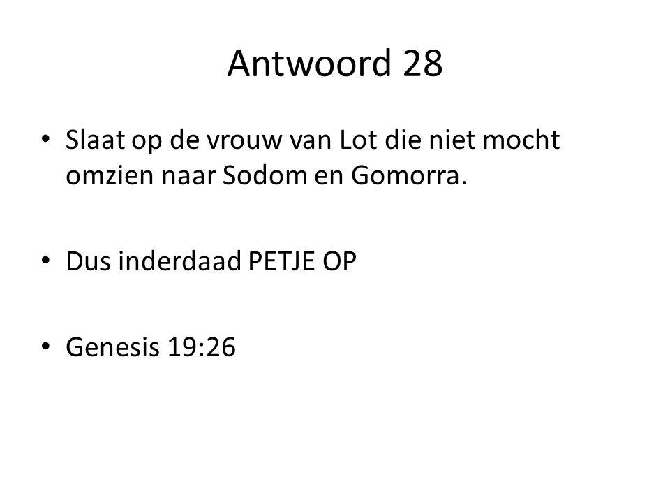 Antwoord 28 Slaat op de vrouw van Lot die niet mocht omzien naar Sodom en Gomorra. Dus inderdaad PETJE OP.