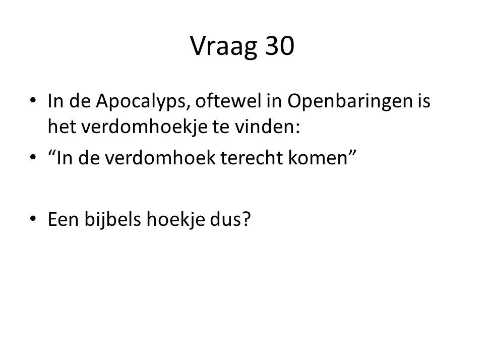 Vraag 30 In de Apocalyps, oftewel in Openbaringen is het verdomhoekje te vinden: In de verdomhoek terecht komen