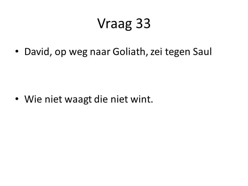 Vraag 33 David, op weg naar Goliath, zei tegen Saul