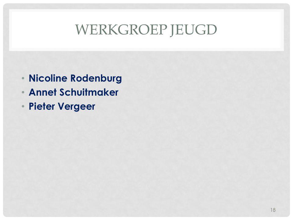 Werkgroep Jeugd Nicoline Rodenburg Annet Schuitmaker Pieter Vergeer