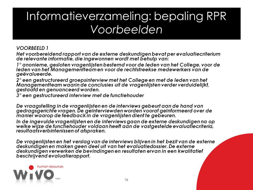 Informatieverzameling: bepaling RPR Voorbeelden