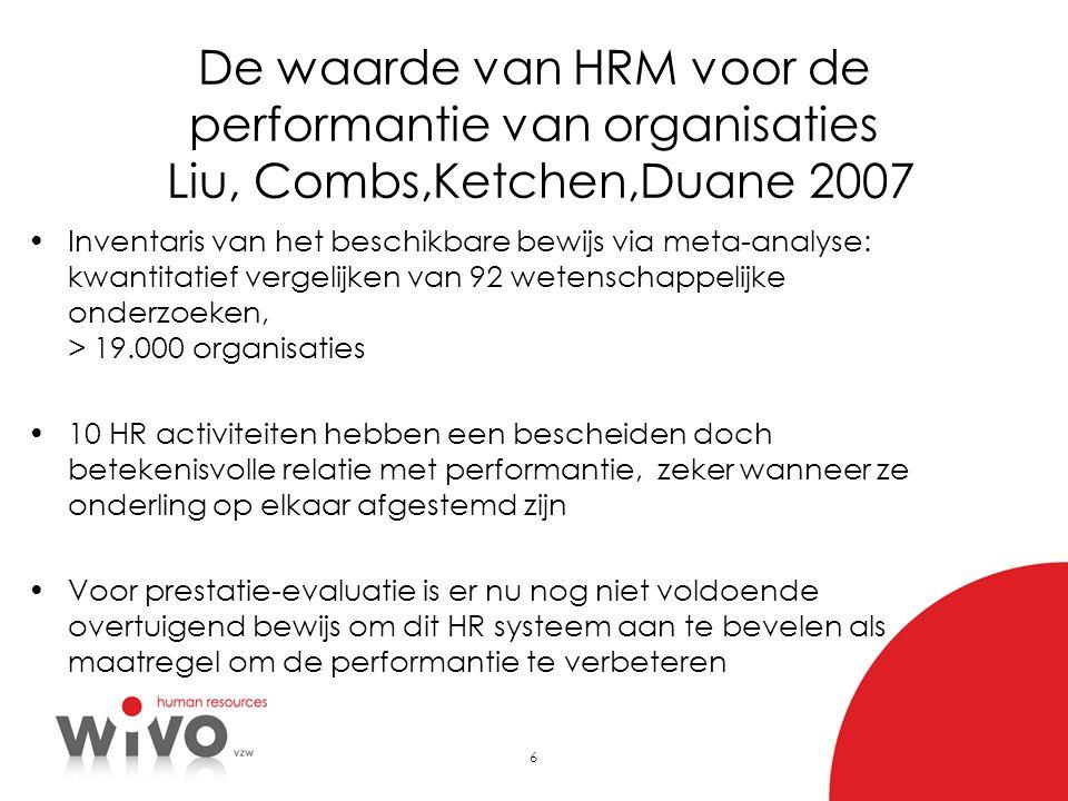 De waarde van HRM voor de performantie van organisaties Liu, Combs,Ketchen,Duane 2007