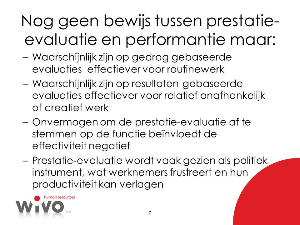 Nog geen bewijs tussen prestatie-evaluatie en performantie maar: