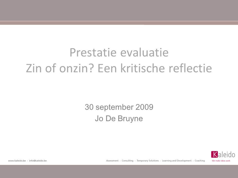 Prestatie evaluatie Zin of onzin Een kritische reflectie