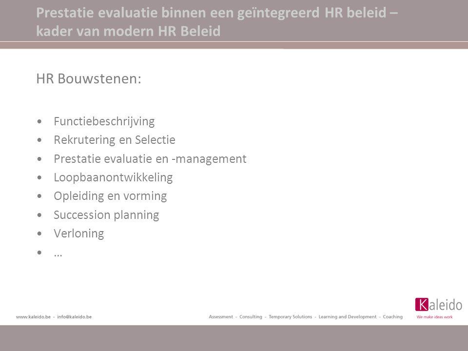 Prestatie evaluatie binnen een geïntegreerd HR beleid – kader van modern HR Beleid